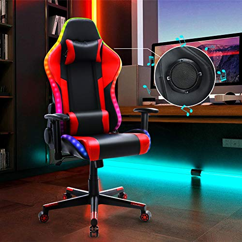Gaming Chair with Speakers RGB LED Lights, Ergonomic High Back Computer Chair, Adjustable Reclining Music Video Game Chair, PU Leather Racing Office Chair for Adult and Teens (Red)