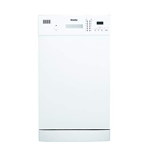 Danby 18 Inch Built in Dishwasher, 8 Place Settings, 6 Wash Cycles and 4 Temperature + Sanitize Option, Energy Star Rated with Low Water Consumption and Quiet Operation - White (DDW1804EW)