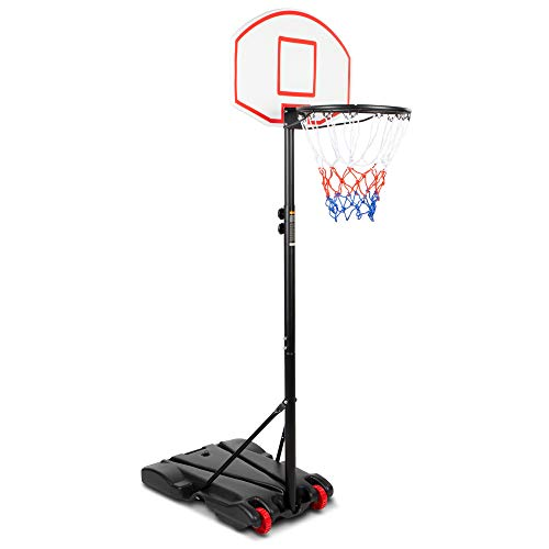 Best Choice Products Kids Height-Adjustable Basketball Hoop, Portable Backboard System Stand w/ 2 Wheels, Fillable Base, Weather-Resistant, Nylon Net - Multicolor
