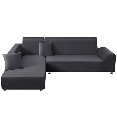 TAOCOCO Sectional Couch Covers 2pcs L-Shaped Sofa Covers Softness Furniture Slipcovers with 2pcs Pillowcases L-Type Polyester Fabric Stretch Sofa Covers 3 Seats + 3 Seats (Lead Grey)