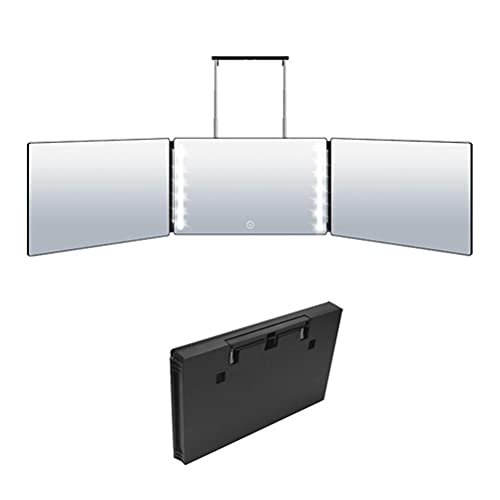 ADSE Trifold Mirror LED Makeup Mirror 3 Way Mirror for Self Hair Cutting Lightweight Portable Adjustable Mirror for DIY Haircut