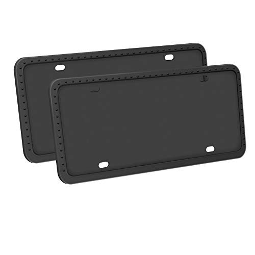 LivTee Silicone License Plate Covers & Frames, Universal American Auto Accessory License Plate Frame Holder, Rust-Proof, Rattle-Proof, Weather-Proof, Black