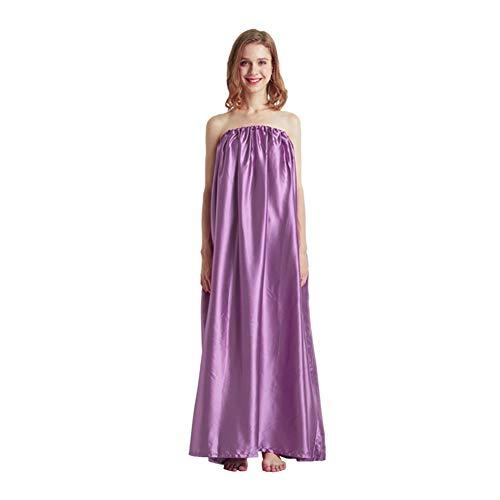 LVOERTUIG Women Steam Gown Gift Bath be Loose Portable Vaginal Detox Sleeveless Soft Home Foldable Sauna Sweating Tool Drawst Closure(Light Purple)
