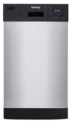 Danby 18 Inch Built in Dishwasher, 8 Place Settings, 6 Wash Cycles and 4 Temperature + Sanitize Option, Energy Star Rated with Low Water Consumption and Quiet Operation - Stainless (DDW1804EBSS)