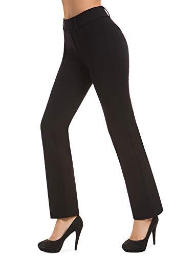 Bamans Women's Bootcut Pull-On Dress Pants Office Business Casual Yoga Work Pants with Key Pocket Straight Leg (Black, Medium)