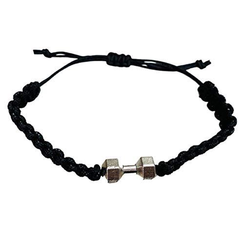 Fitness Bracelet, Motivational Dumbbell Charm Adjustable Bracelet for Men & Women, Exercises Weightlifting, Sports Fitness, Personal Trainer Gift