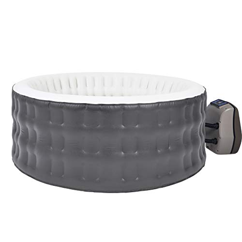 ALEKO HTIR4WHBR Round Inflatable Jetted Hot Tub Spa with Cover - 4 Person - 211 Gallon - Gray