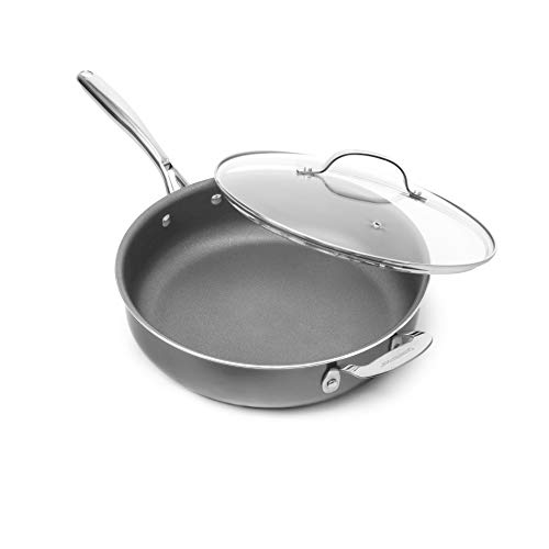 """Granitestone Nonstick 14"""" Frying Pan with Lid Ultra Durable Mineral and Diamond Triple Coated Surface, Family Sized Open Skillet, Oven and Dishwasher Safe, Large, Black"""