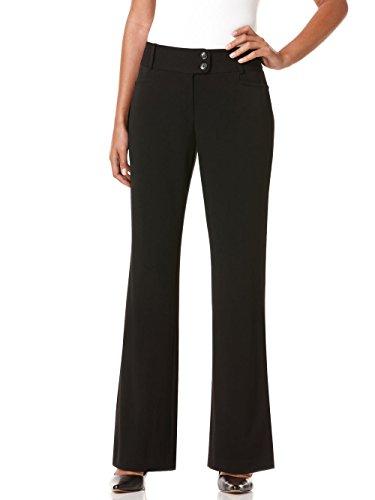 Rafaella Women's Petite Curvy Fit Gabardine Pant, Black, 10 Petite