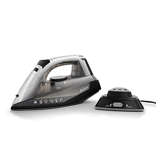 Sunbeam Cordless or Corded 1500-Watt Anti-Drip Ceramic Hybrid Clothes Iron with Vertical Steam and Auto-Off Function (GCSBNC-200), Grey