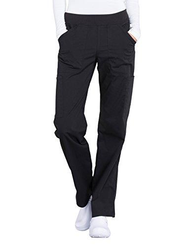 Workwear Professionals Women Scrubs Pant Mid Rise Straight Leg Pull-on Cargo WW170P, M Petite, Black