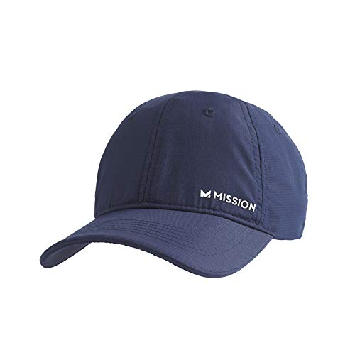 MISSION Cooling Performance Hat- Men's & Women's Cap, UPF 50 Sun Protection, Hook & Loop Close, Evaporative Cool Technology, Cools Instantly When Wet, Great for Golf, Running, Baseball- Navy