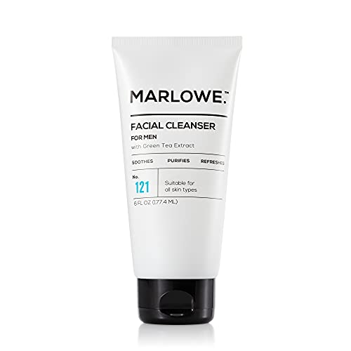 MARLOWE. No. 121 Facial Cleanser for Men 6oz   Daily Face Wash with Natural Extracts & Antioxidants   Soothes, Purifies, Refreshes   Thick Lather, No More Dry