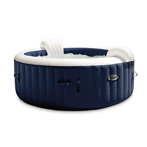 Intex 28429E PureSpa Plus 6.4 Foot Diameter 4 Person Portable Inflatable Hot Tub Spa with 140 Bubble Jets and Built in Heater Pump, Blue