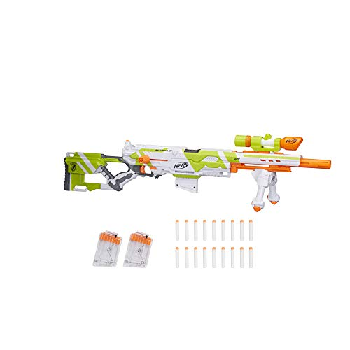 NERF Longstrike Modulus Toy Blaster with Barrel Extension, Bipod, Scopes, 18 Modulus Elite Darts & 3 Six-Dart Clips for Kids, Teens, & Adults