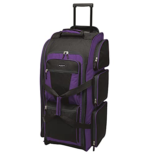 Travelers Club Xpedition 30 Inch Multi-Pocket Upright Rolling Duffel Bag, Purple, 30-Inch