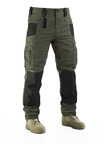 Survival Tactical Gear Men's Ripstop Pants Outdoor Military Camo Cargo Trousers for Camping Hiking (Ranger Green, L)