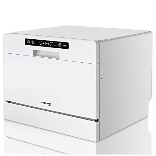 Countertop Dishwasher, GASLAND Chef Portable Dishwashers with 5 Washing Programs, 6 Place Setting Countertop or Built-in Dishwasher Machine, High-temperature Washing with Faucet Adapter, Child Lock
