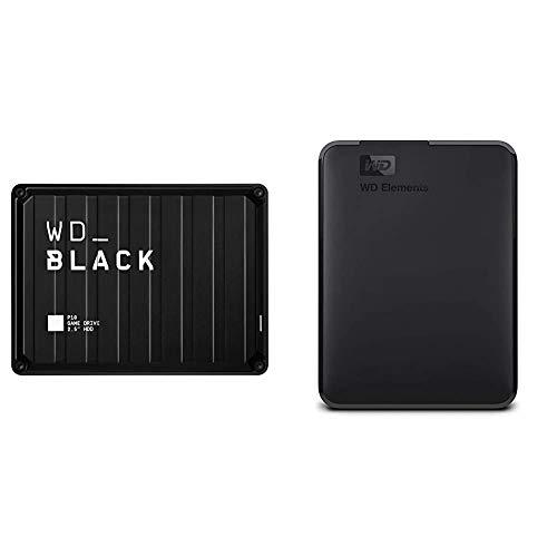 WD_Black 2TB P10 Game Drive, Portable External Hard Drive Compatible with Playstation, Xbox, PC, & Mac - WDBA2W0020BBK-WESN & 2TB WD Elements Portable External Hard Drive, USB 3.0 - WDBU6Y0020BBK-WESN
