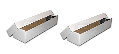 2 Boxes - BCW 800 Count Box with Lid - Corrugated Cardboard Storage Box - Baseball, Other Sport Cards, Gaming & Trading Card Collecting Supplies