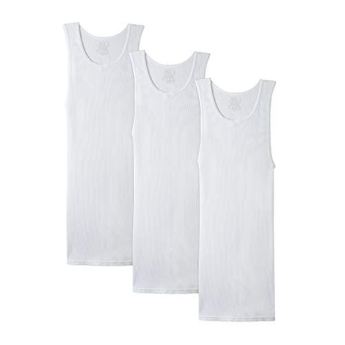 Fruit of the Loom Men's Tall Tag-Free Underwear & Undershirts, Big Man-Tank-3 Pack, 3X-Large