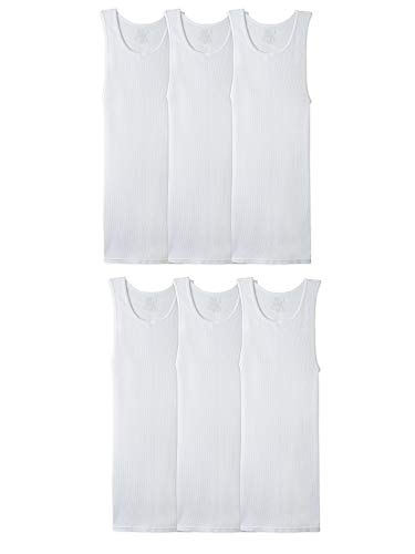 Fruit of the Loom Men's Tag-Free Tank A-Shirt, 6 Pack-White, Small