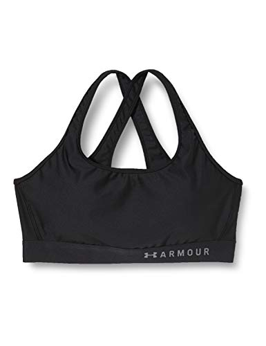 Under Armour Women's HeatGear Armour Mid Impact Crossback Sports Bra , Black (001)/Graphite , Medium