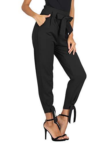 GRACE KARIN Women's Elastic Waist Comfy Bow Tie Hem Crop Skinny Pants with Pockets Black S