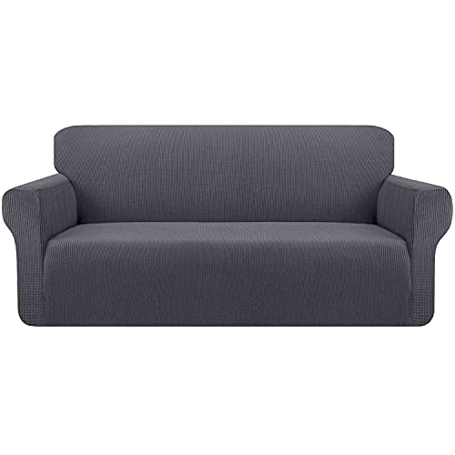 Kiduck High Stretch Couch Cover Form Fit Super Soft Sofa Slipcover for 3 Cushion Couch Non-Slip Sofa Cover Furniture Protector with Elastic Bottom for Kids Pets (Large,Grey)