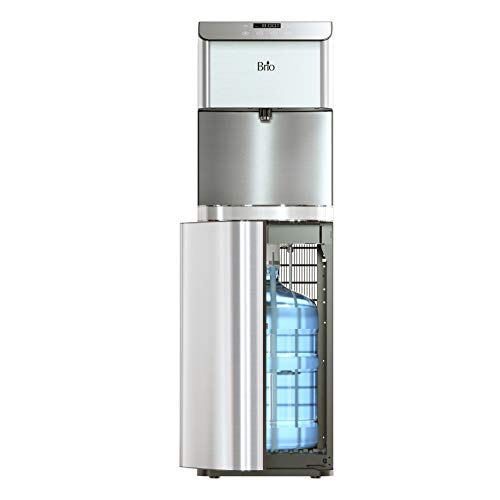 Brio Moderna Bottom Load Water Cooler Dispenser - Tri-Temp, Adjustable Temperature, Self-Cleaning, Touch Dispense, Child Safety Lock, Holds 3 or 5 Gallon Bottles, Digital Display and LED Light