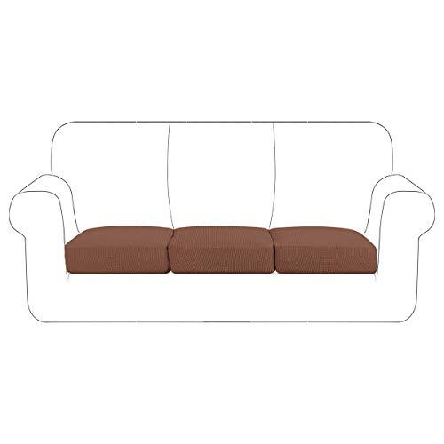 SNDMOR Stretch Couch Cushion Cover Cushion Slipcover Furniture Protector Seat Sofa Slipcover Chair Loveseat Sofa Cushion Durable Non Slip(3,Coffee)