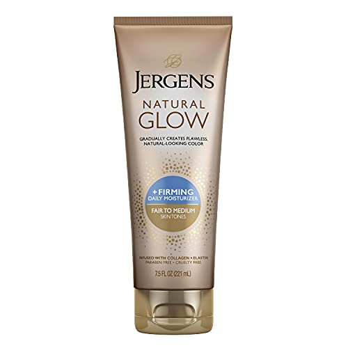 Jergens Natural Glow +FIRMING Self Tanner Lotion, Sunless Tanning Lotion for Fair to Medium Skin Tone, Anti Cellulite Firming Body Lotion for Natural-Looking Tan, 7.5 Ounce