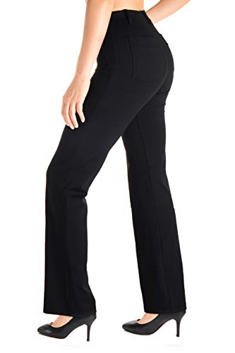 Yogipace, Belt Loops, Women's Petite/Regular/Tall Dress Pant Bootcut Yoga Work Pants Slacks Trousers Back Pockets Office Commute Travel, 31',Black,Size Medium