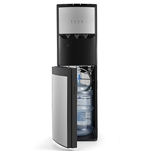 5 Gallon Water Dispenser Bottom Loading Hot Cold Water Cooler Stainless 3 Temperature Spouts, Empty Bottle Indicator with Child Safety Lock Black