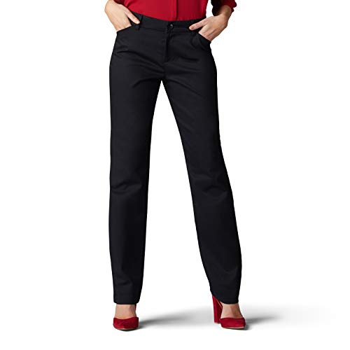 Lee Women's Wrinkle Free Relaxed Fit Straight Leg Pant, Black, 12