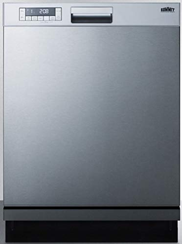 Summit Appliance DW2435SS 24' Wide ENERGY STAR Certified Built-In Dishwasher with Stainless Steel Door and Front Controls, Digital Touch Controls, Two Spray Levels, Automatic Detergent Detection