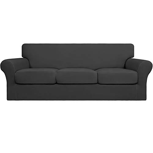 Easy-Going 4 Pieces Stretch Soft Couch Cover for Dogs - Washable Sofa Slipcover for 3 Separate Cushion Couch - Elastic Furniture Protector for Pets, Kids (Sofa, Dark Gray)