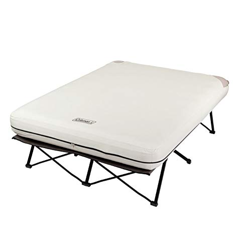 Coleman Camping Cot, Air Mattress, and Pump Combo   Folding Camp Cot and Air Bed with Side Tables and Battery Operated Pump