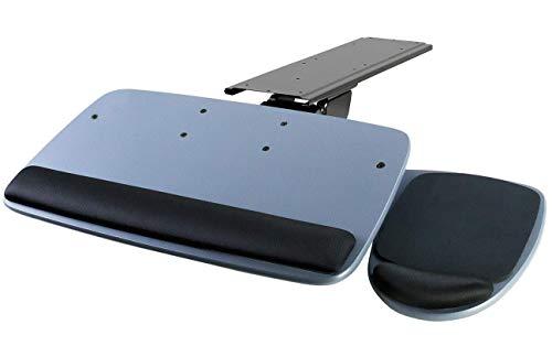 Mount-It! Under Desk Keyboard Tray, Adjustable Keyboard and Mouse Drawer Platform with Ergonomic Wrist Rest Pad, 17.25' Track (MI-7137)