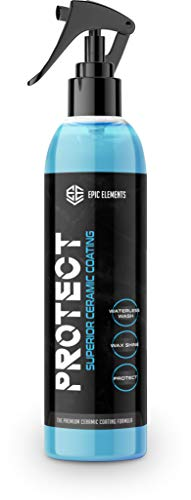 Epic Elements Protect Ceramic Coating for Cars Wax Spray   Premium Car Polish with Ultra SiO2 Coating   Hydrophobic Waterless Car Wash & Wax Spray for Paint Sealant Detail & Auto Protection Care