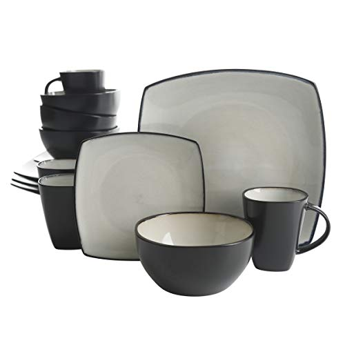 Gibson Elite Soho Lounge Reactive Glaze Stoneware Dinnerware set, Service for 4 (16pc), Sand