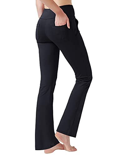 Haining Women's High Waisted Boot Cut Yoga Pants 4 Pockets Workout Pants Tummy Control Women Bootleg Work Pants Dress Pants (Black,Large)