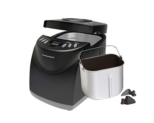 Hamilton Beach Bread Maker Machine 2 Lb Capacity Digital, Programmable, 12 Settings + Gluten Free, Dishwasher Safe Pan + 2 Kneading Paddles, Black (29882)