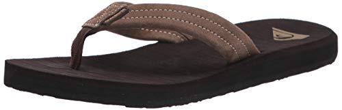 Quiksilver Men's Carver Suede 3 Point Flip Flop Athletic Sandal, Demitasse Solid, 9 M US