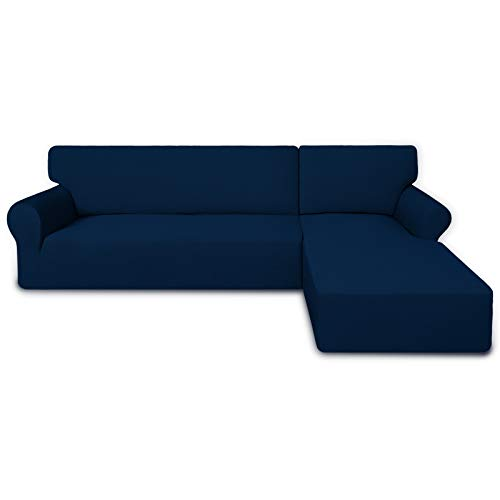 PureFit Super Stretch Sectional Couch Covers - 2 pcs Spandex Non Slip Sofa Covers with Elastic Bottom for L Shape Sectional Sofa Couches, Great for Kids & Pets (3 Seat Sofa + 3 Seat Chaise, Navy)