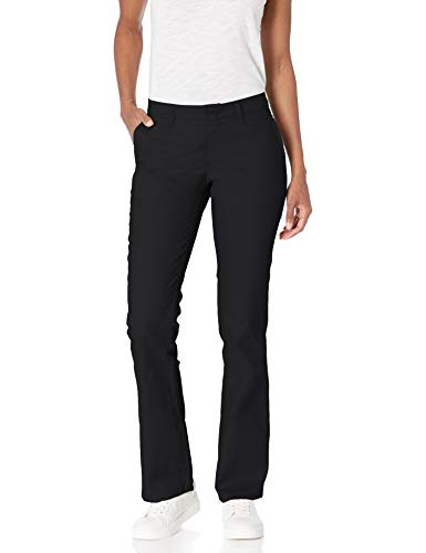 Dickies Women's Flat Front Stretch Twill Pant Slim Fit Bootcut, Black, 18