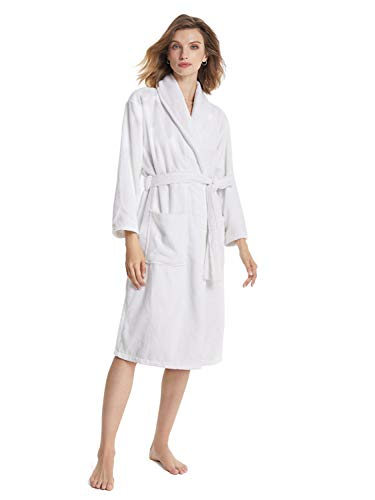 SIORO Plus Size Womens Robe Cotton Terry Bathrobe Soft Lightweight Spa Shower Towel Robes Soft Warm Loungwear Long Shawl Collar Housecoat, White X-Large