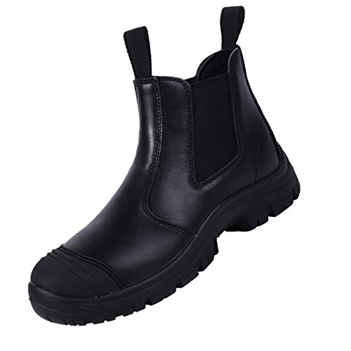 BOIWANMA Work Safety Boots for Men Breathable Work Shoes Electric Hazard, Slip Resistant, Quick Dry, Comfortable Pull-On Leather Steel Toe Work Boots for Work, Construction, and Casual, Size 12 Black