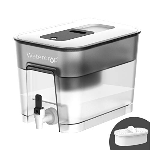 Waterdrop 20-Cup Water Filter Dispenser with 1 Filter, Long-Lasting (200 gallons), 5X Times Lifetime Filtration Jug, Reduces Lead, Fluoride, Chlorine and More, BPA Free, Black