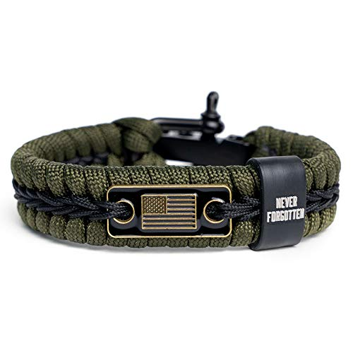 iHeartDogs Never Forgotten Paracord Bracelet - Tactical Survival Bracelet for Men with Bronze USA Flag - Helps Pair Military Veterans with a Companion Dog